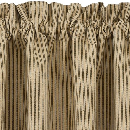 Black and Tan Ticking Stripe Curtain Tiers Primitive Star 24