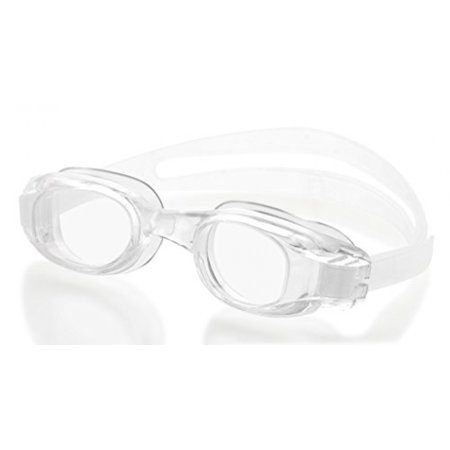 Swimming Goggles for Adults - Clear- White - Universal Leak Resistant Eye-Socket Fit, Ultra UV Protection, Fully Adjustable Latex Free Split