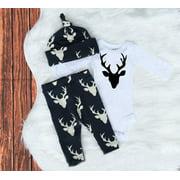 Newborn Infant Baby Girls Boy Deer Tops T-shirt Long Pants Hat 3pcs Outfits Set