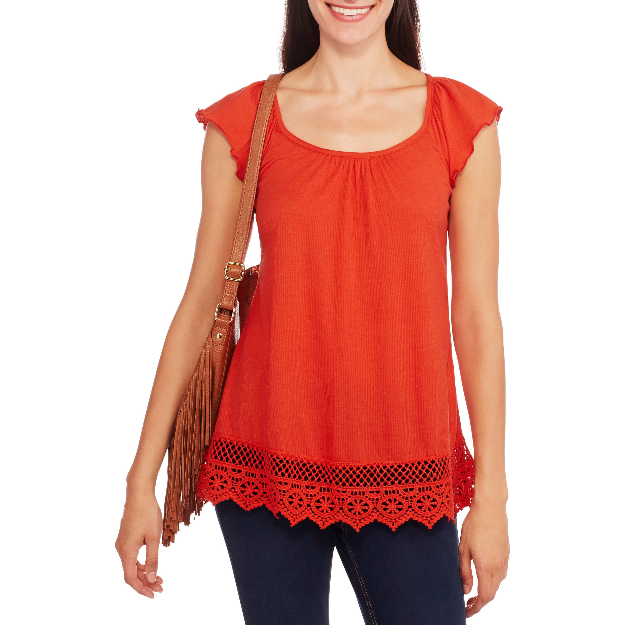 French Laundry Women's Crinkle Flutter-Sleeve Top With Crochet Trim