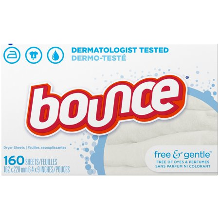 (2 Pack) Bounce Fabric Softener Dryer Sheets, Free & Gentle, 160 Count