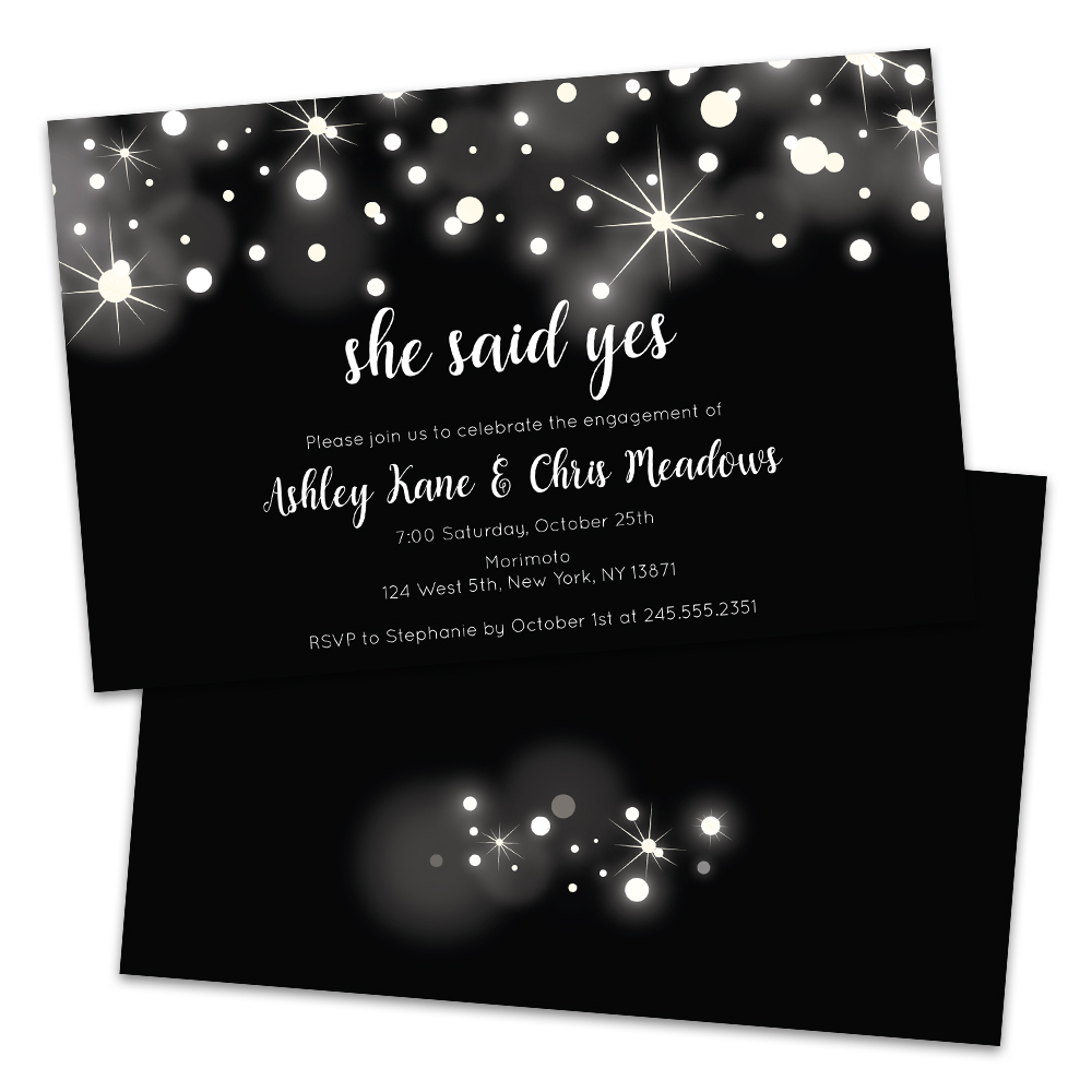 Personalized She Said Yes Black and White Sparkle Engagement Party Invitations