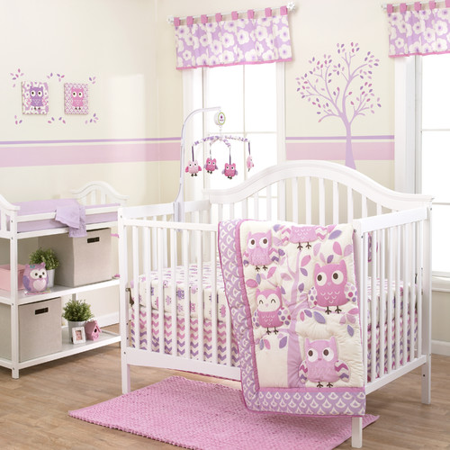 Belle Dancing Owl 3 Piece Crib Bedding Set