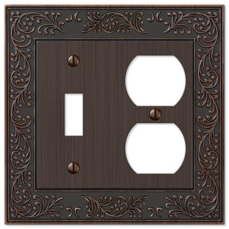 French Garden Single Toggle Switch and Single Duplex Outlet Wall Plate Cover Combo, Oil Rubbed Bronze