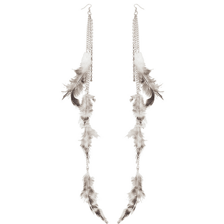 Lux Accessories Silvertone Boho Textured Feather Chain Linear Dangle Earrings