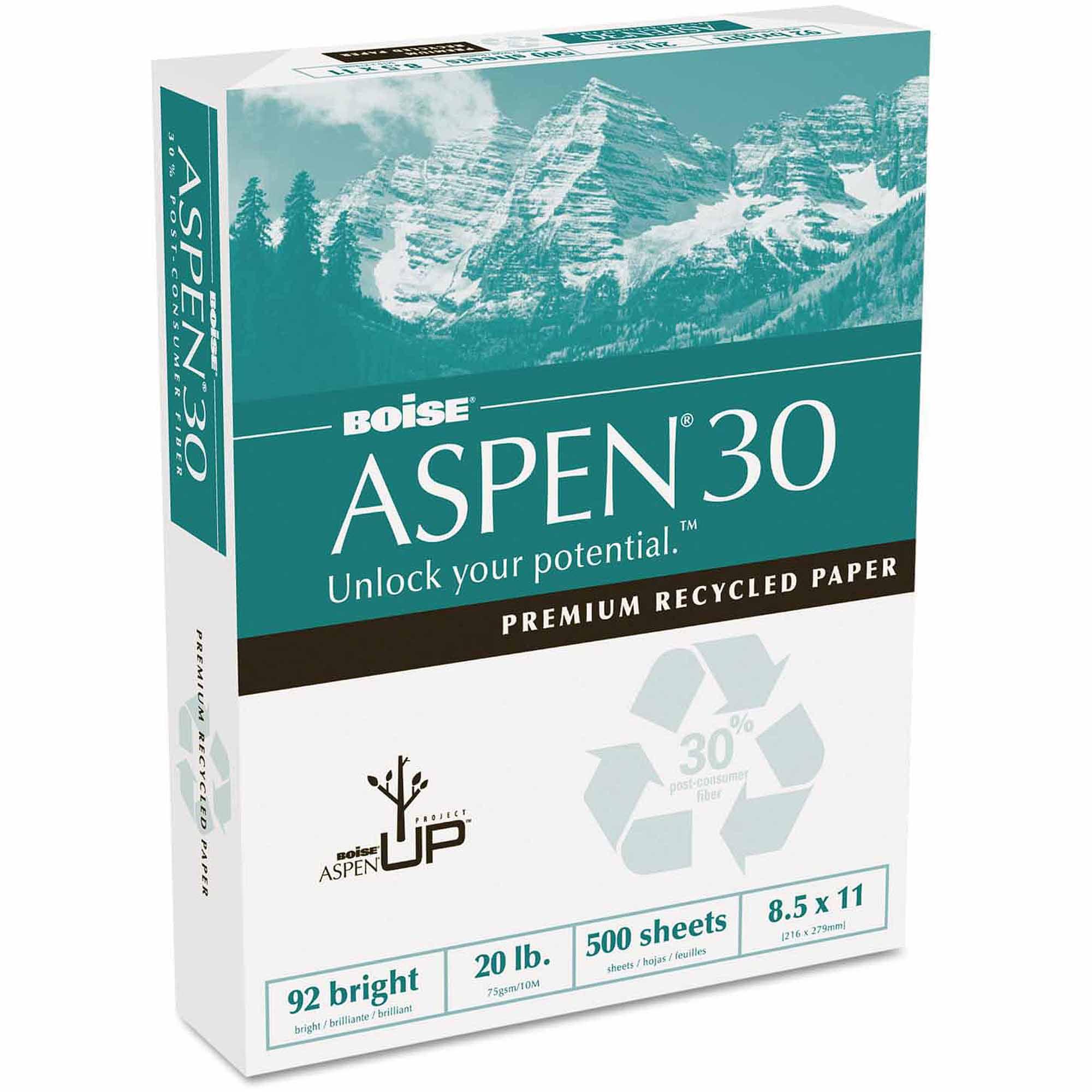 "Boise ASPEN 30% Recycled Office Paper, 92 Bright, 20 lb, 8-1/2"" x 11"", White, 5000/Carton"