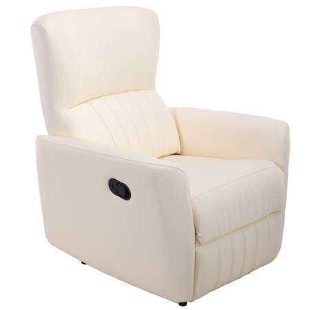 Costway Ergonomic Manual Recliner Sofa Chair PU Leather Lounger Club Home Theater beige - image 8 of 8