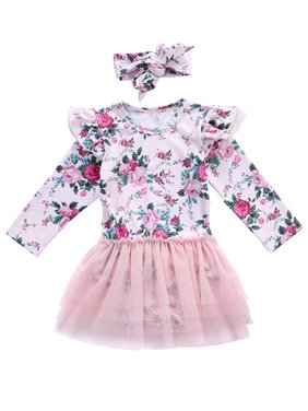 16a49fc16a0 Product Image Infant Baby Girls Ruffle Long Sleeve Floral Lace Tutu Romper  Dress