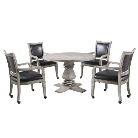 Hathaway Montecito Dining and Poker Table Set, 48-in W x 30-in H, Driftwood Finish ()