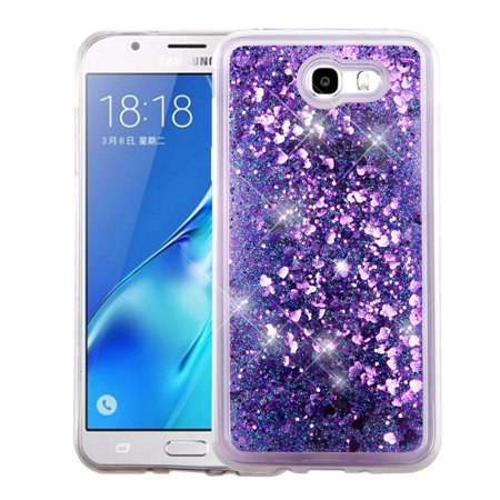Insten For Samsung Galaxy J7 (2017)/Sky Pro Purple Hearts Hard TPU Glitter Case