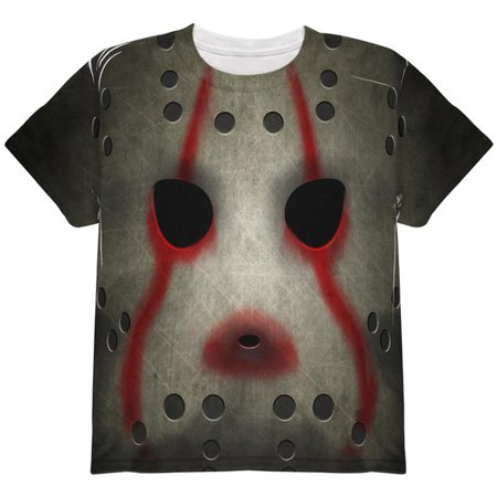 Halloween Horror Movie Hockey Mask Costume All Over Youth T Shirt