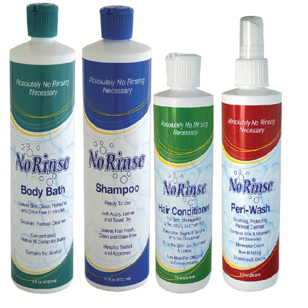 Wash Day Set (Ultimate Care Givers No Rinse Bathing Help Wash Set- Hair and Body Cleansers)
