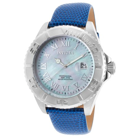 Men's Pro Diver Blue Genuine Leather Mother of Pearl (Pro Diver Blue Dial)