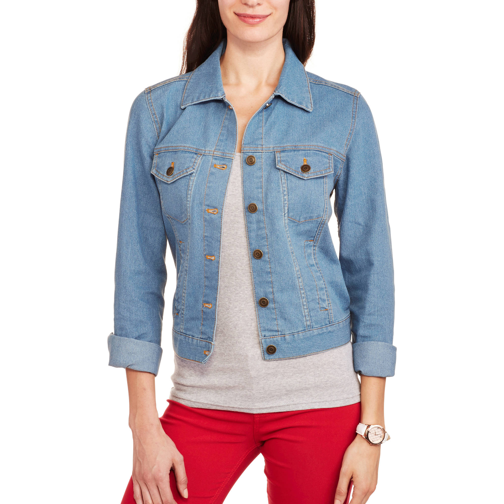 Faded Glory Women's Super Stretch Denim Jacket with Front Pockets