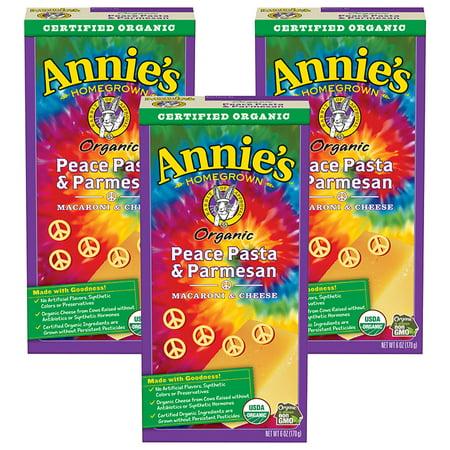 (3 Pack) Annie's Organic Mac & Cheese Peace Pasta & Parmesan Mac & Cheese 6