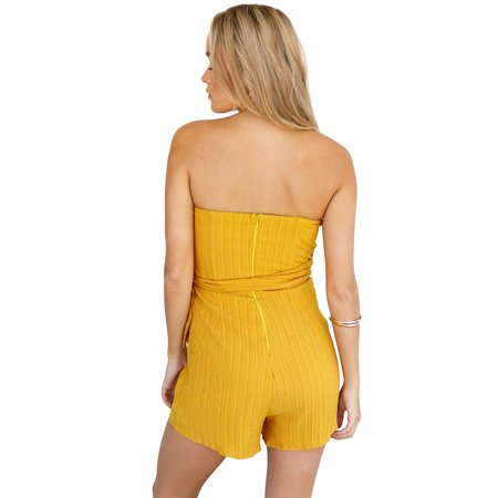 Women Off Shoulder Playsuit Tie Waist Back Zipper Sleeveless Asymmetric Jumpsuit Romper Bodysuit - image 5 de 7