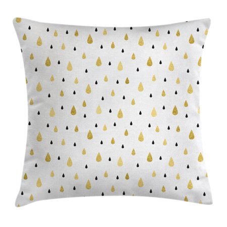 Farmhouse Decor Throw Pillow Cushion Cover, Gold Rain Drops Pattern Downpour Moisture Condensed From Atmosphere Artsy Work, Decorative Square Accent Pillow Case, 18 X 18 Inches, White, by Ambesonne