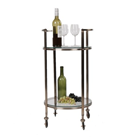 Glass Top Metal Finish - Mind Reader 2 Tier Bar Cart, Metal Bar Cart with Glass Top, Portable Bar Cart, Mobile Glass Pushing Cart, Glass Top Gold Finish, Clear