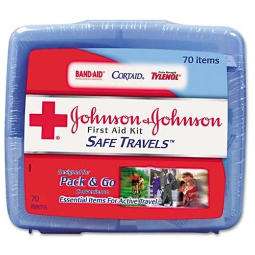 "Johnson&johnson Safe Travels First Aid Kit - 70 X Piece[s] - 5.5"" X 6.3"" X 1.6"" - Plastic Case (JOJ8274)"