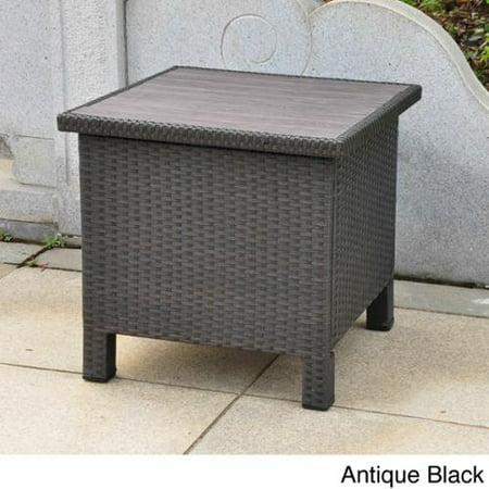 International caravan barcelona contemporary resin wicker aluminum outdoor storage side table - Contemporary side tables with storage ...