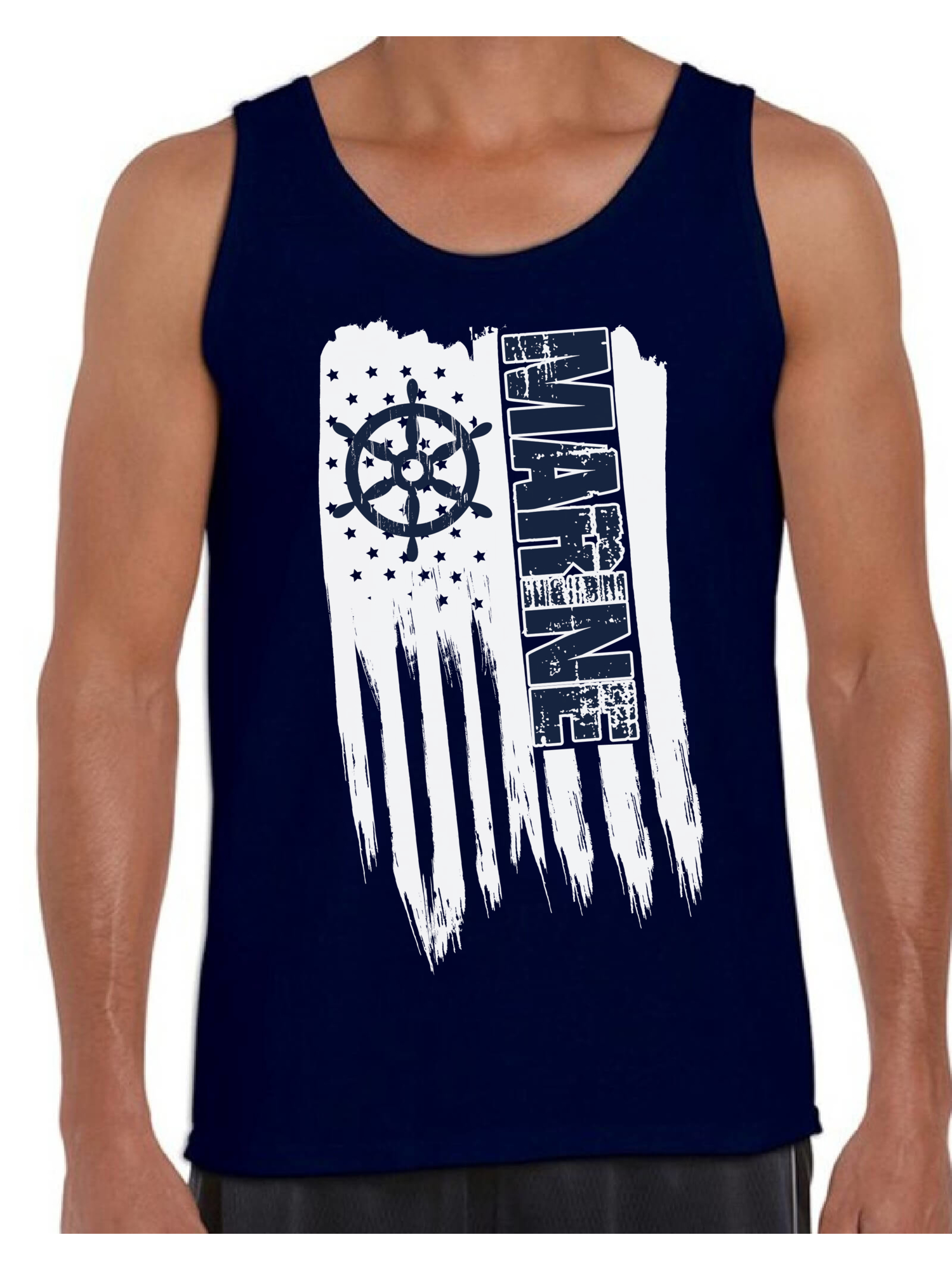 Patriotic USA American Flag Stars and Stripes Mens Muscle Tank Top Shirt