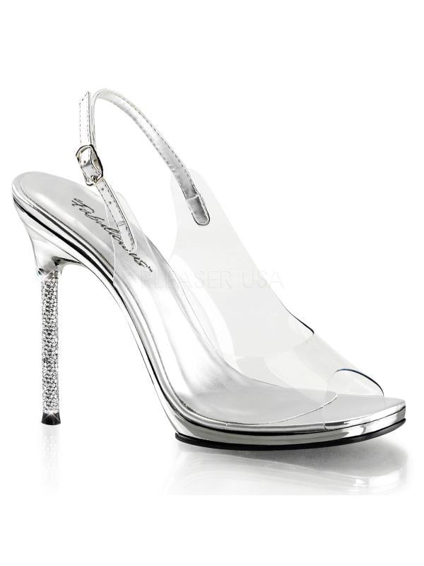 "CHIC18/CSPU/SCH Fabulicious Shoes Chrom 4 1/2"" Chic Clr-Slv Pu/Slv Chrom Shoes Size: 8 d771ec"