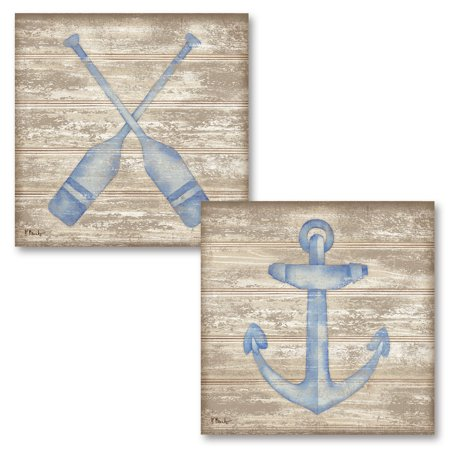 Gango Home Decor Classic Nautical Anchor and Oars Coastal Wall Art by Paul Brent; Two Blue 12x12in Unframed Paper Prints (Paper Only, No - Barbara Nautical Print