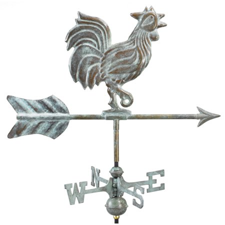 Rooster Cottage Weathervane - Blue Verde Copper w/Roof Mount by Good Directions