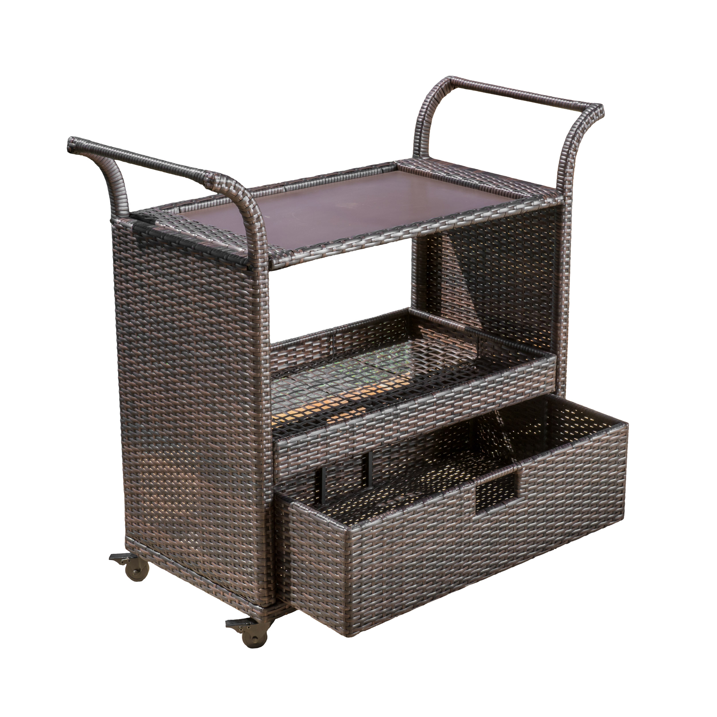 Orosei Multibrown Wicker Indoor Bar Cart with Casters