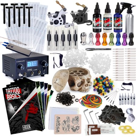 Rehab Ink Professional Tattoo Kit w/ 3 Ink Colors, Skull Ink Holder, 2 Machines, Power Supply & More - Low Price Tattoo Kits