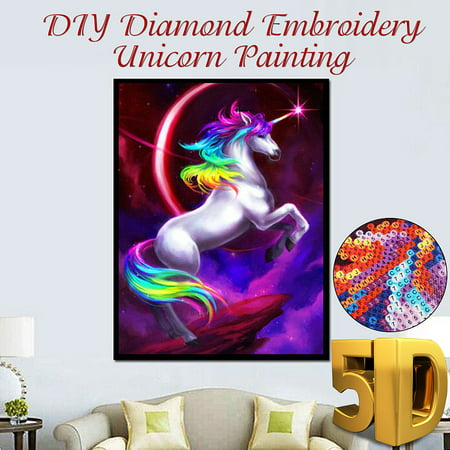 5D DIY Oil Canvas Crystal Diamond Jewelry Home Wall Decor Art Painting Picture by Number Kit +Accessories, Full Drill Unicor n Animal Embroidery Cross Stitch Rhinestone Craft (Cross Stitch Charts)