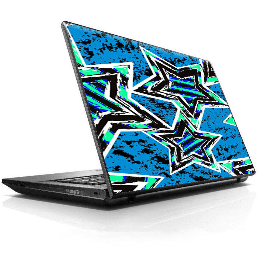 "Laptop Notebook Universal Skin Decal Fits 13.3"" to 15.6"" / Blue 80's Pop Art Stars"