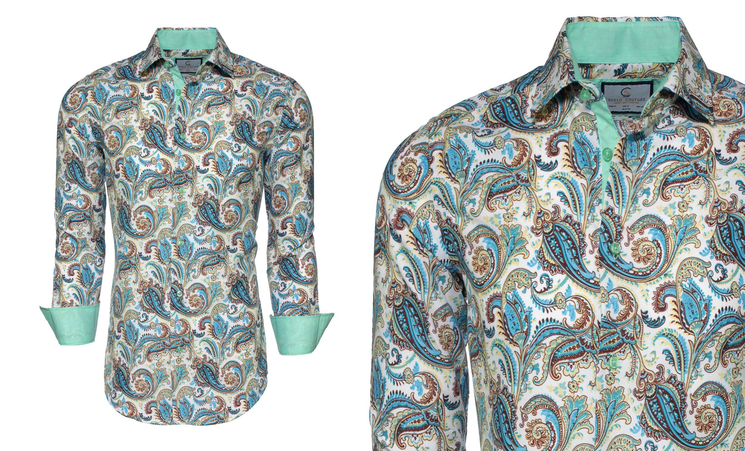 Suslo Couture Men's Long Sleeve Slim Fit Fashion Modern Design Button Down  shirt