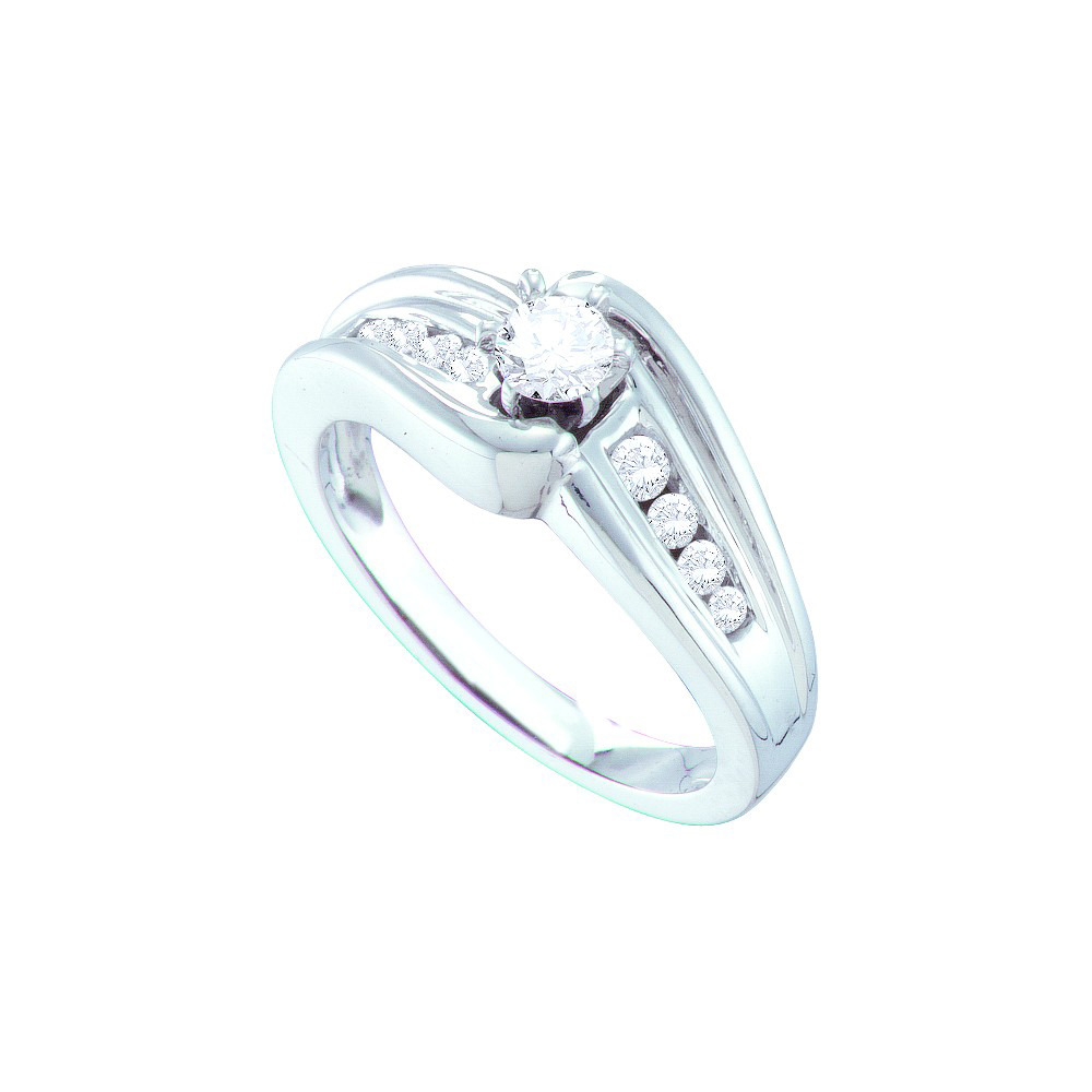 14kt White Gold Womens Round Diamond Solitaire Bridal Wed...