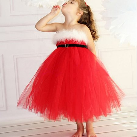 Baby Toddler Girls Kids Christmas Princess Pageant Wedding Tulle Tutu Dresses](Christmas Dresses For Children)