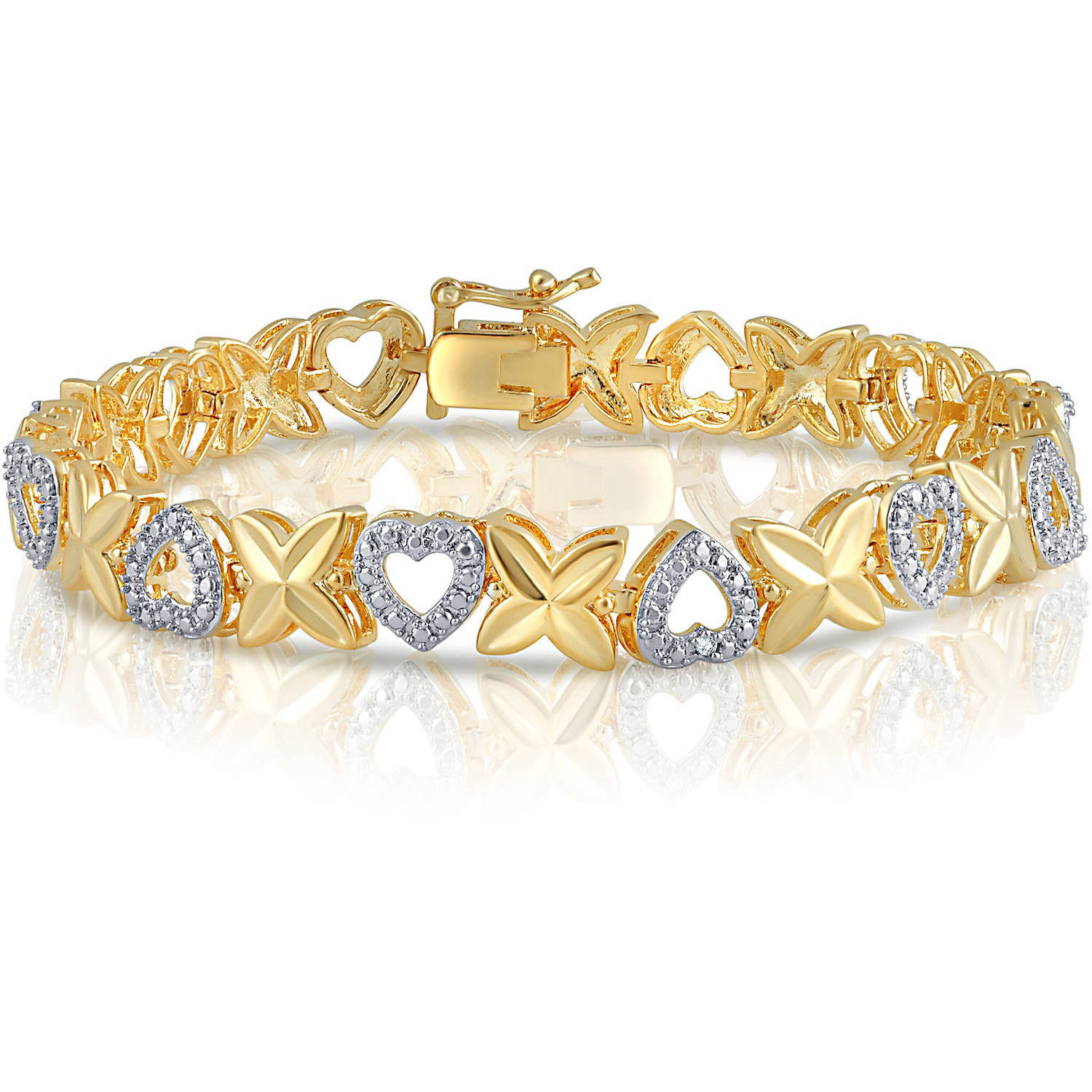 Diamond Accent Gold Tone Plated Brass Heart and Leaf Bracelet,7.5""