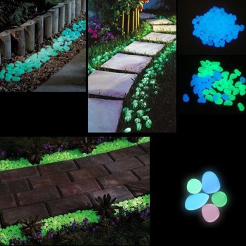 100Pk Glow in the Dark Garden Pebbles
