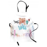Quote Apron Travel The World Lettering with Around World Landmarks Balloons Work of Art Image, Unisex Kitchen Bib Apron with Adjustable Neck for Cooking Baking Gardening, Multicolor, by Ambesonne