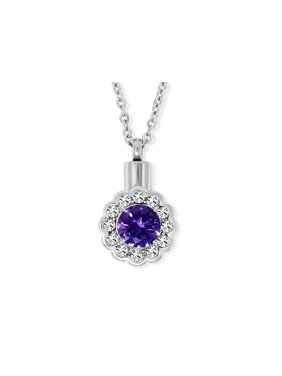 SmartChoice Cremation Urn Necklace for Ashes With Beautiful Gift Box Urn Pendant Memorial Keepsake Cremation Jewelry (purple)