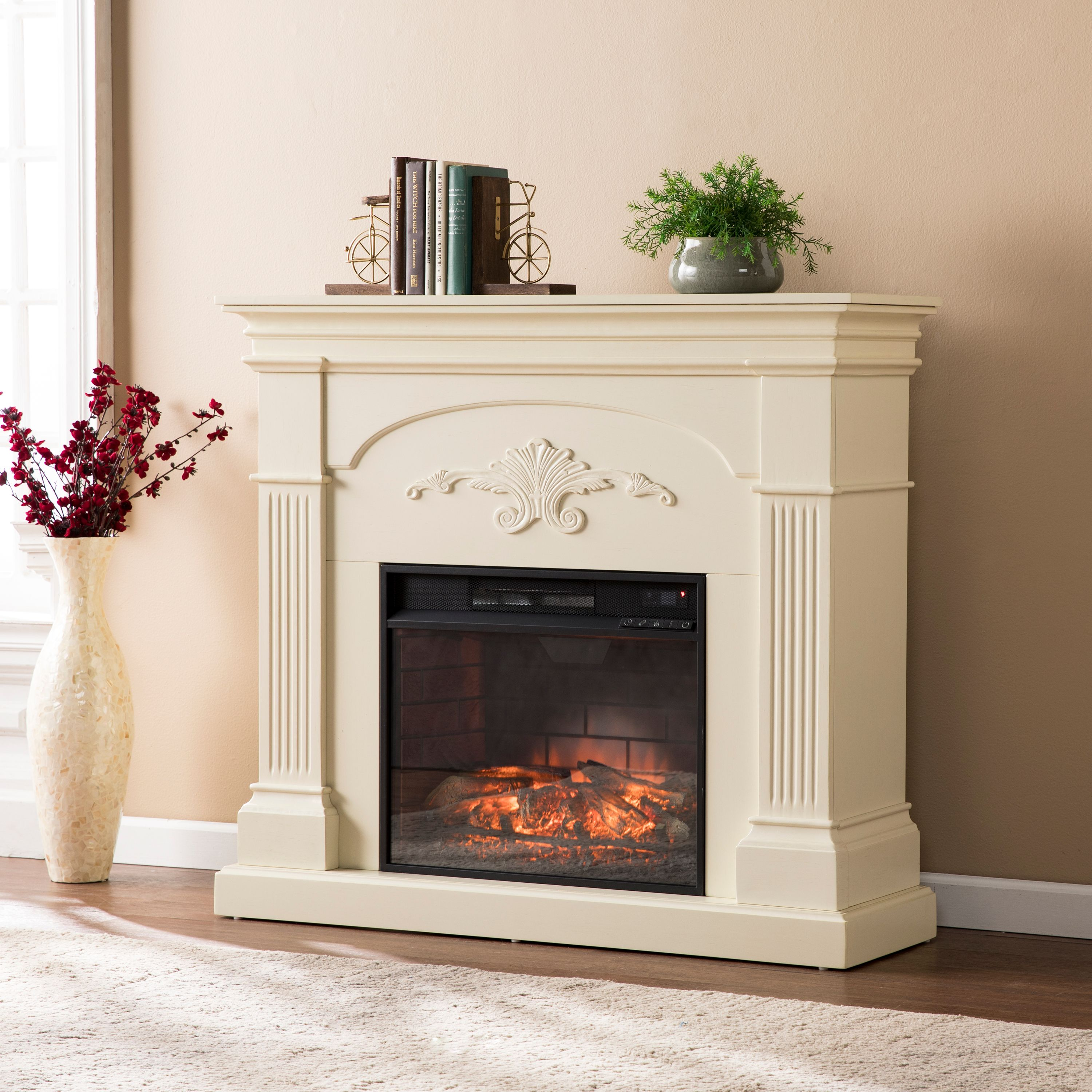 Chamberlain Infrared Electric Fireplace, Ivory