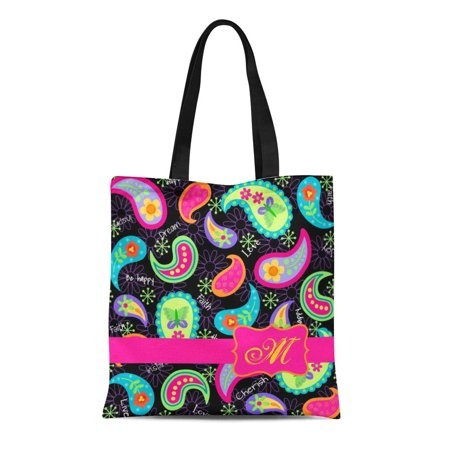 SIDONKU Canvas Tote Bag Colorful Personalize Black Fuchsia Pink Modern Paisley Teal Name Reusable Handbag Shoulder Grocery Shopping Bags