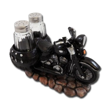 Spice The Open Roads Black Motorcycle Salt and Pepper Set by (Painted Open Salt)