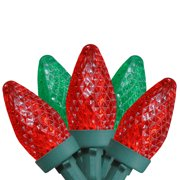 Brite Star 50ct Faceted LED C7 Christmas Lights Red/Green - 20.25' Green Wire