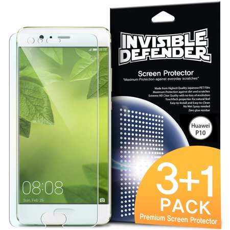 Huawei P10 Screen Protector, Invisible Defender [CLEARNESS][Case Compatible] Perfect Touch Precision High Definition (HD) Protective Clear Film (4-Pack)](huawei p10 plus screen protector)