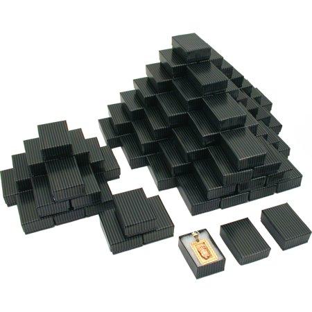 100 Black Stripe Cotton Filled Jewelry Gift Box 1 7/8