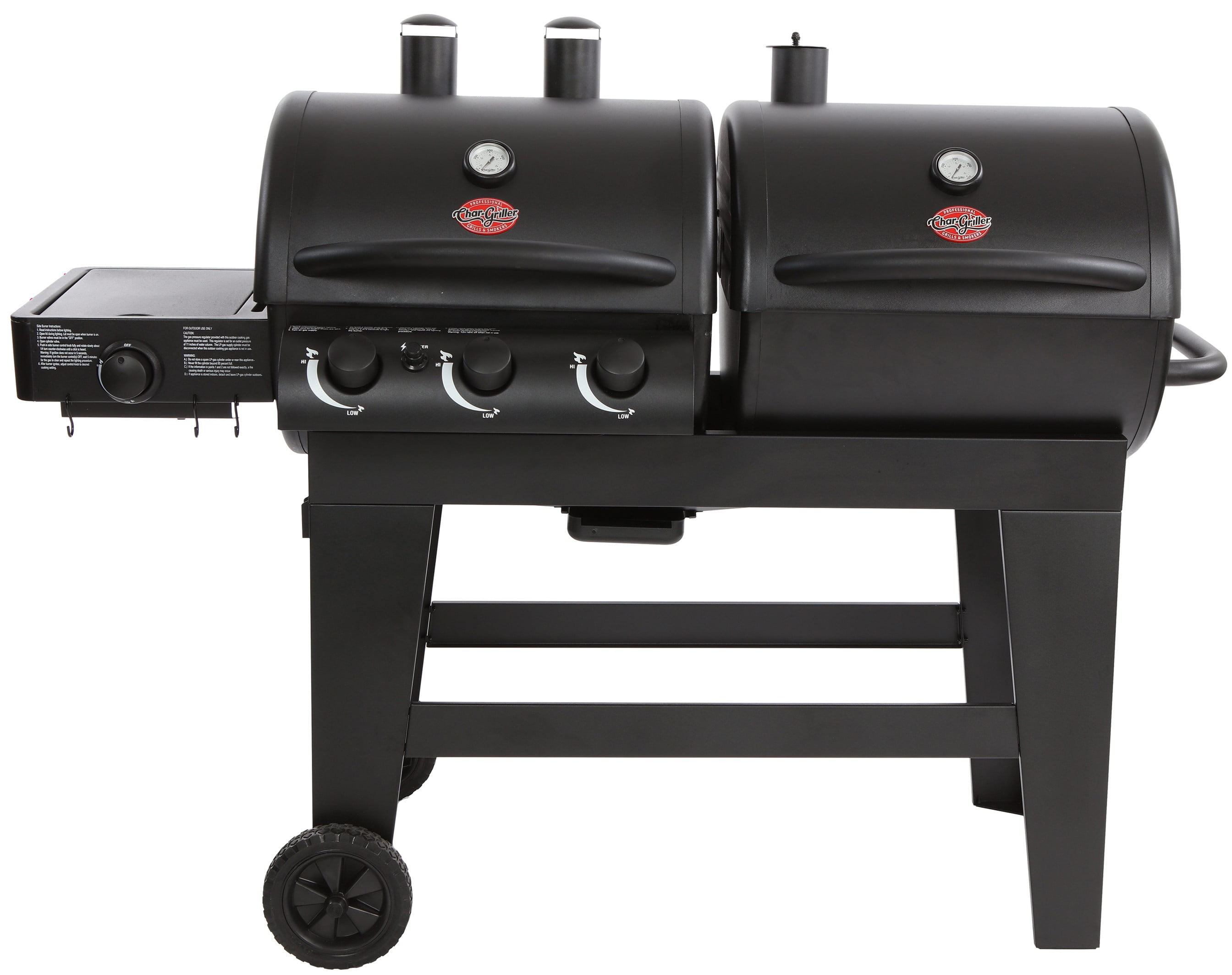 Char-Griller Dual Function Gas & Charcoal Grill, Black, E5072 by Char-Griller