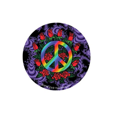 Psychedelic Tie Dye Peace Sign & Roses Bumper Sticker / Decal by Superheroes Brand - Tie Dye Peace Sign Tattoos