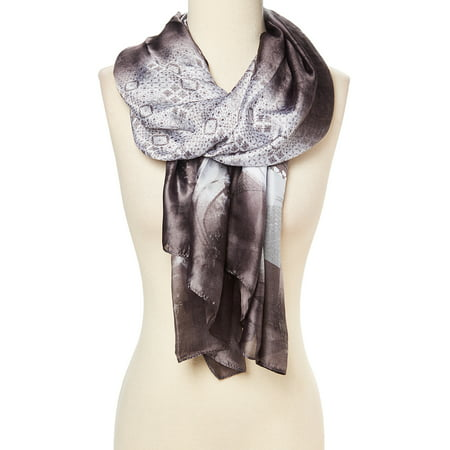 Grey Scarfs for Women Soft Silk Luxurious Scarves Casual Ombre Style Partywear Warm and Cozy Silk and Viscose Fabric Neck Scarf Gift Ideas for Ladies and Girls by (Silk Gift Ideas)
