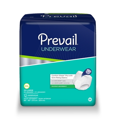Prevail Extra Absorbency Underwear, 2X-LARGE, Maximum Absorbency Pull On, PV-517 - Pack of 12