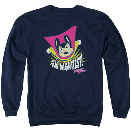 MIGHTY MOUSE/THE MIGHTIEST-ADULT CREWNECK SWEATSHIRT-NAVY-MD